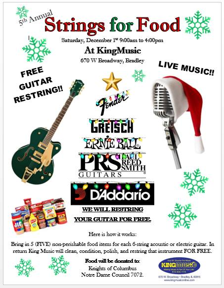 5th Annual Strings For Food @ King Music Inc.