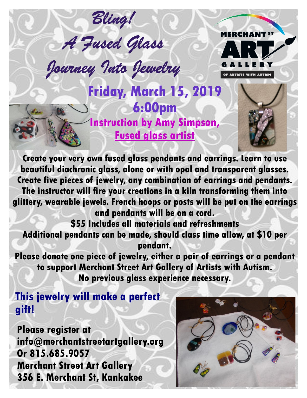 Fused Glass Jewelry @ Merchant Street Art Gallery of Artists with Autism