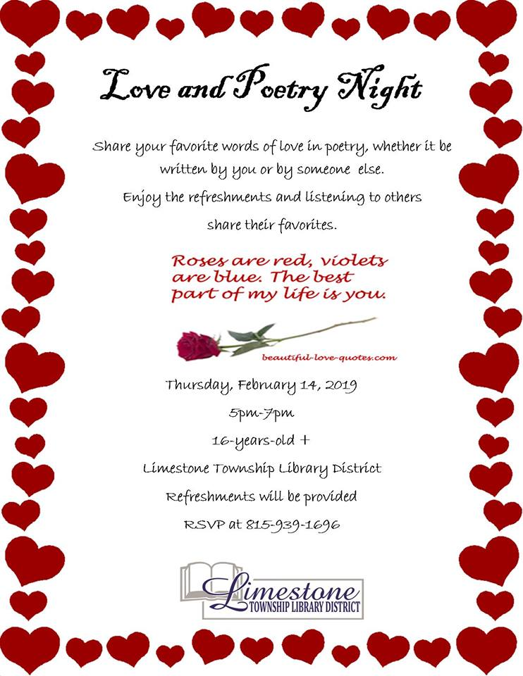 Love and Poetry Night @ Limestone Township Library District