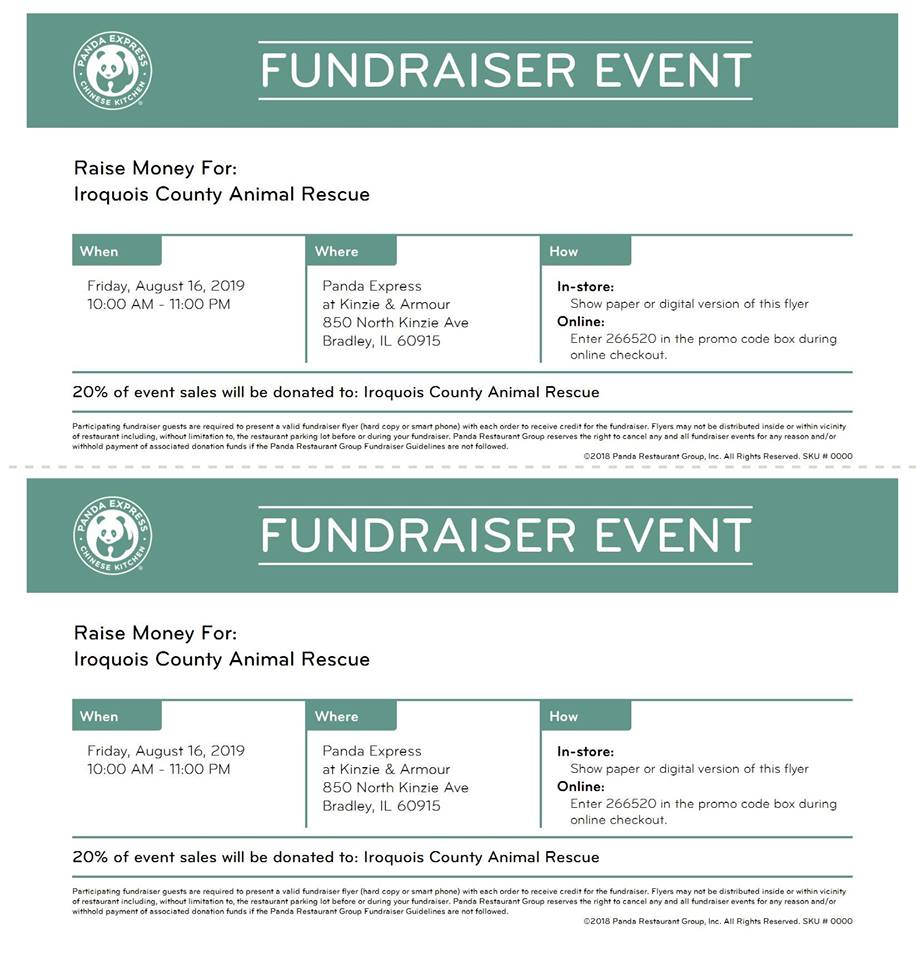 Panda Express Fundraiser @ Iroquois County Animal Rescue