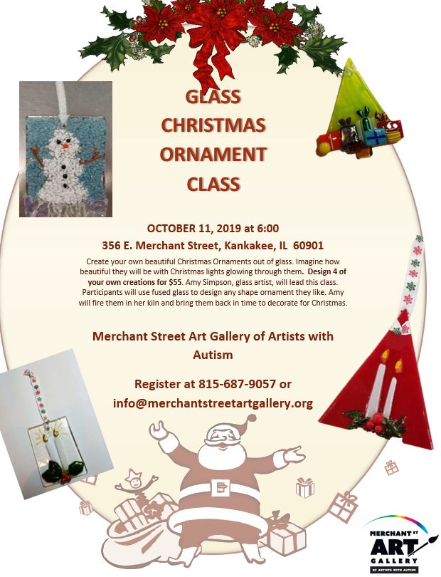 Glass Christmas Ornament Class @ Merchant Street Art Gallery of Artists with Autism
