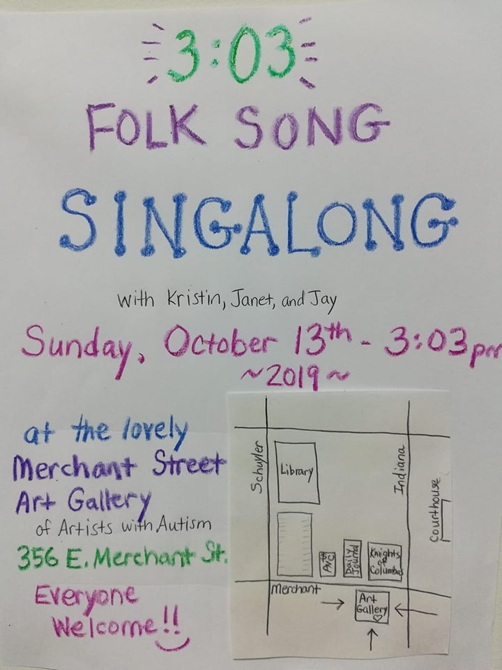 3:03 Folk Singalong @ Merchant Street Art Gallery of Artists with Autsim