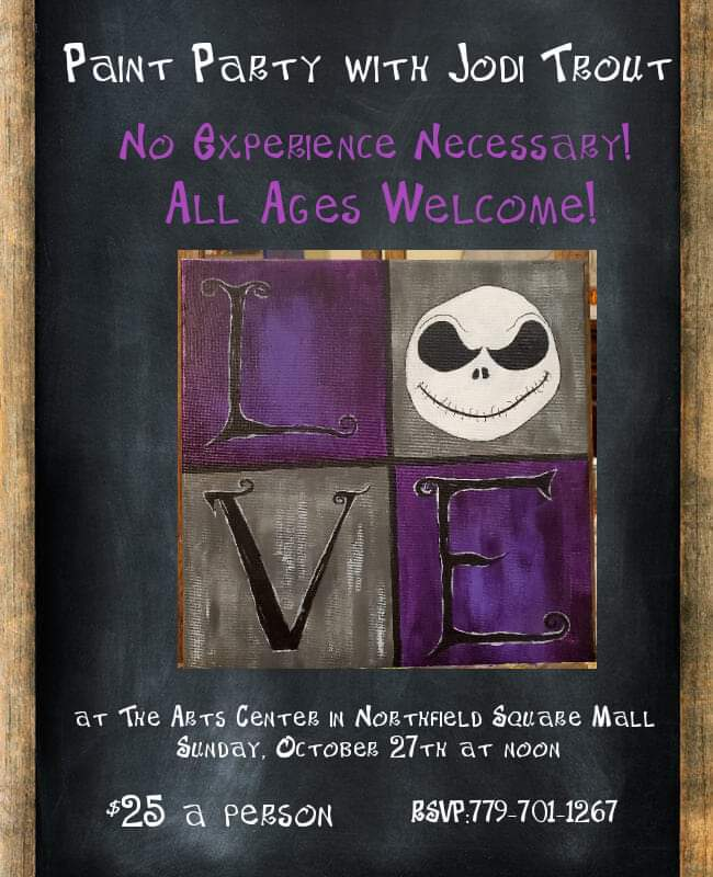 Paint Party With Jodi Trout: Jack Skellington @ Arts Center of Northfield Square Mall