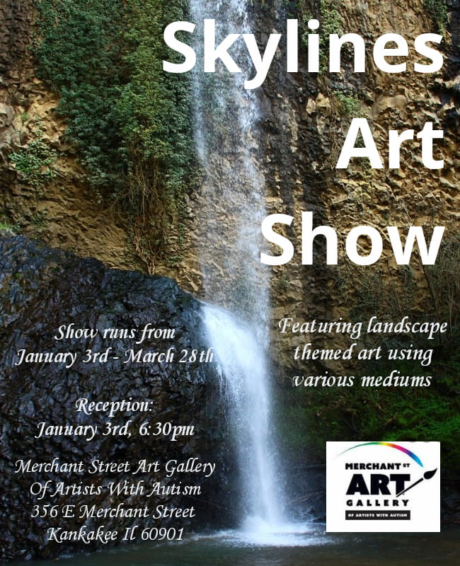 Skylines Art Show Reception @ pin Merchant Street Art Gallery of Artists with Autism