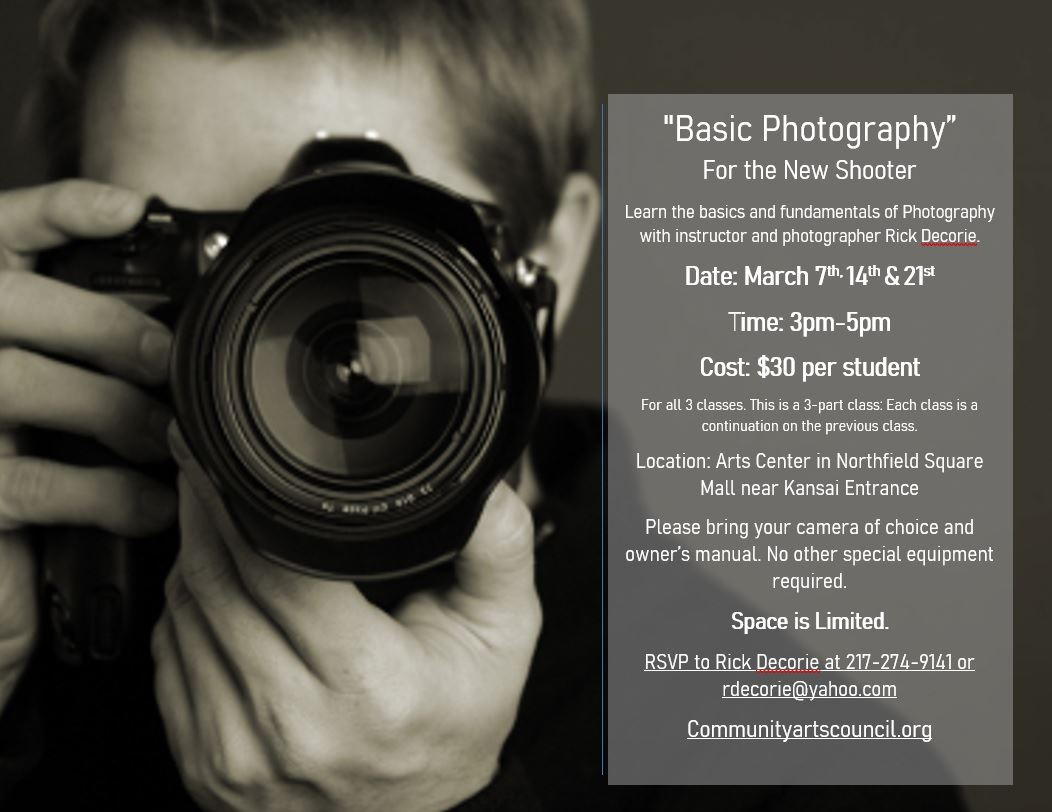Basic Photography w/ Rick Decorie @ Arts Center of Kankakee County